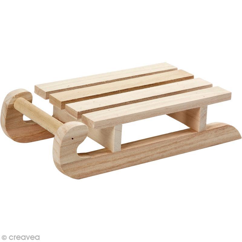 Luge en bois à décorer - 19 x 10 cm - Photo n°1