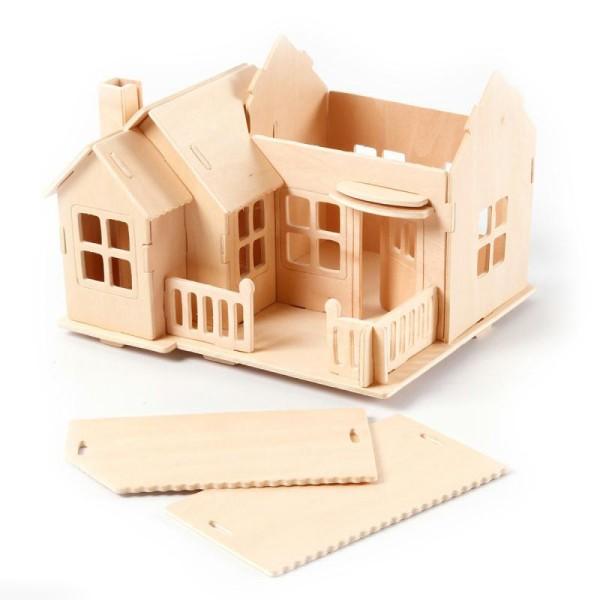 Puzzle 3D à décorer - Maison avec balcon - 18,5 x 19 cm - Photo n°4