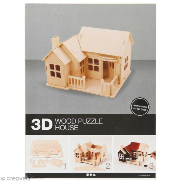 Puzzle 3D à décorer - Maison avec balcon - 18,5 x 19 cm - Photo n°1