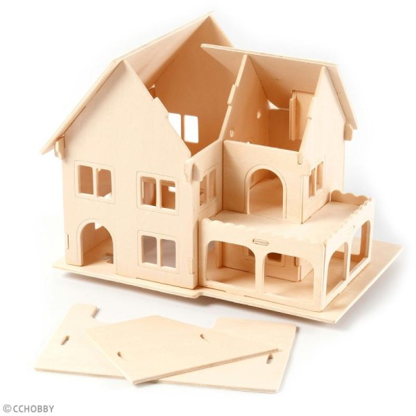 Puzzle 3D à décorer - Maison avec véranda - 16 x 22 cm - Photo n°4