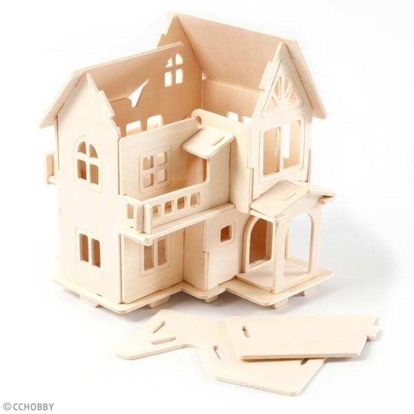 Puzzle 3D à décorer - Maison avec terrasse - 13 x 19 cm - Photo n°4