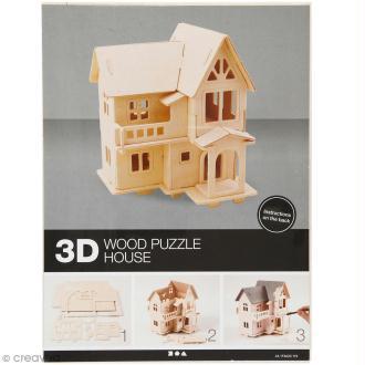 Puzzle 3D à décorer - Maison avec terrasse - 13 x 19 cm