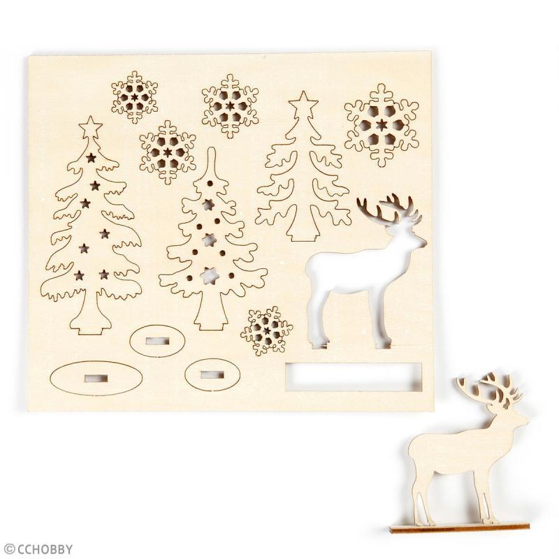 Set décoration 3D en bois à décorer - Cerf et sapins - 15,5 x 17,5 cm - Photo n°2