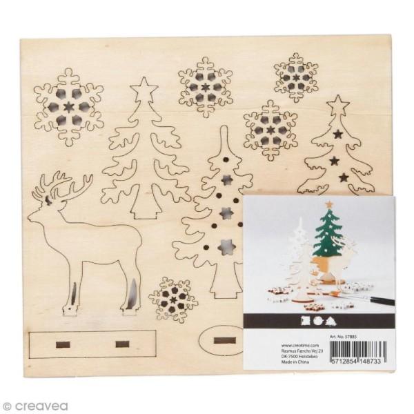 Set décoration 3D en bois à décorer - Cerf et sapins - 15,5 x 17,5 cm - Photo n°1