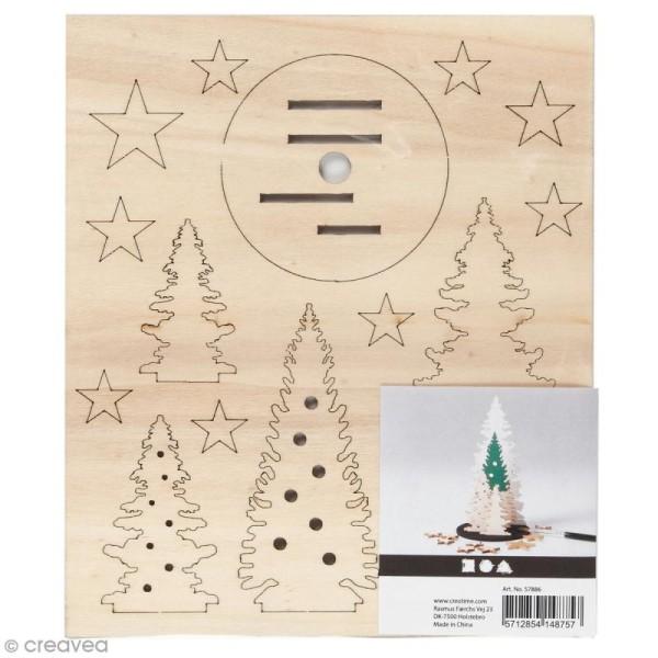 Set décoration 3D en bois à décorer - Sapins - 20 x 17,5 cm - Photo n°1