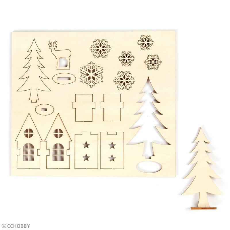 Set décoration 3D en bois à décorer - Maison, sapin et cerf - 15,5 x 17,5 cm - Photo n°2
