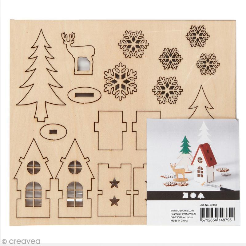 Set décoration 3D en bois à décorer - Maison, sapin et cerf - 15,5 x 17,5 cm - Photo n°1