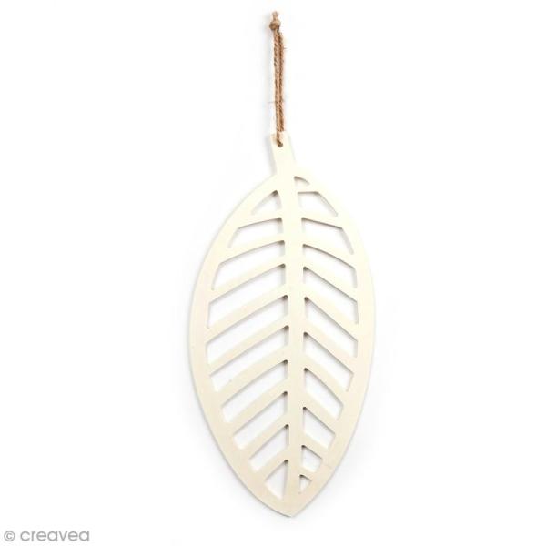 Feuille longue ajourée en bois à décorer - 17 x 35 cm - Photo n°1