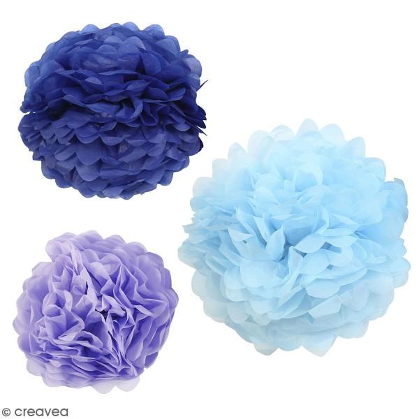 Lot de pompons en papier de soie - différents coloris - 20, 24, 30 cm - 3 pcs - Photo n°1