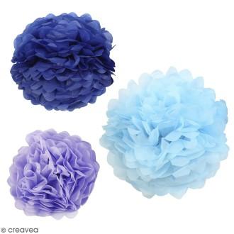 Lot de pompons en papier de soie - différents coloris - 20, 24, 30 cm - 3 pcs