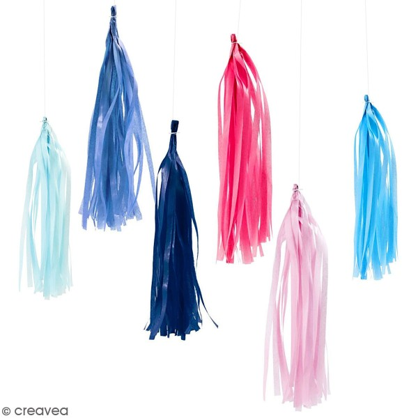 Guirlande de pampilles en papier de soie à monter - différents coloris - 35 cm - 13 pcs - Photo n°1
