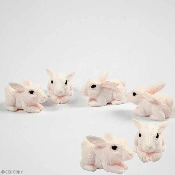 Décoration miniature - Lapins - 10 mm - 4 pcs - Photo n°2