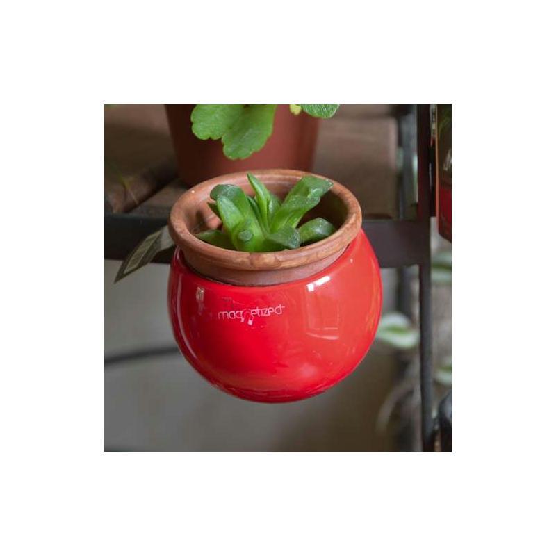 Mini cache pot aimant rouge diam tre environ 8 cm for Cache pot design interieur