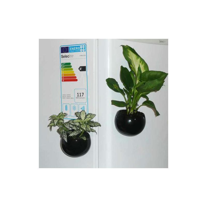 Mini cache pot aimant noir diam tre global environ 8 cm for Cache pot design interieur