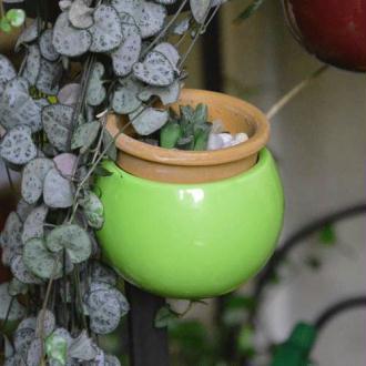Mini cache-pot aimanté vert.  diamètre global environ 8 cm, intérieur environ 6.5 cm