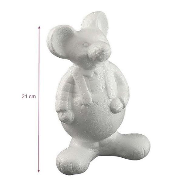 Souris habillée debout en polystyrène, dim. 21 x 13 cm, à customiser et décorer - Photo n°1