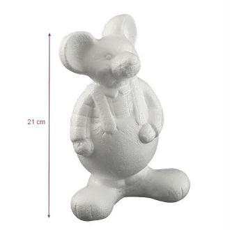 Souris habillée debout en polystyrène, dim. 21 x 13 cm, à customiser et décorer