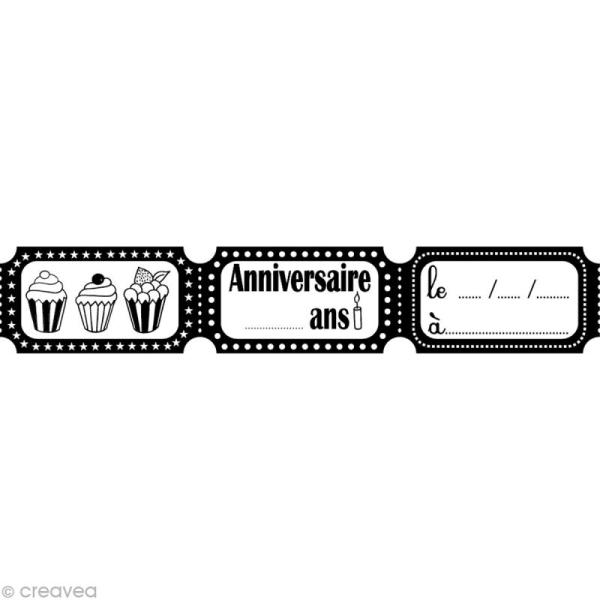 Tampon Anniversaire - Tickets - 9 x 3 cm - Photo n°1