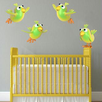 Stickers Oiseaux jaunes 2 - 10x10 cm