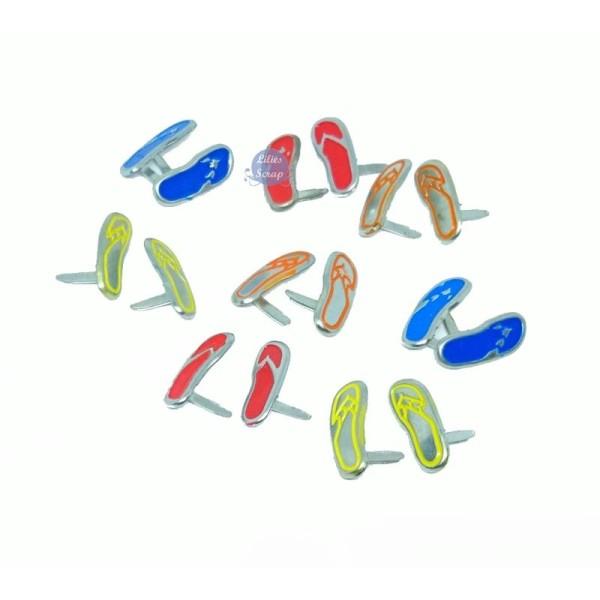 8 Brads attaches parisiennes tongs flip-flop 15 mm scrapbooking - Photo n°1