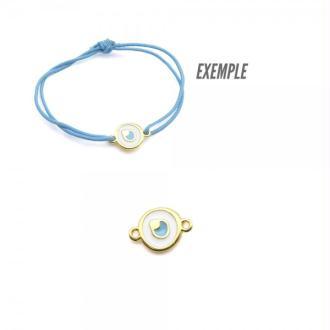 Connecteur oeil émaillé blanc et bleu métal zamak doré par 2 pièces - Europe