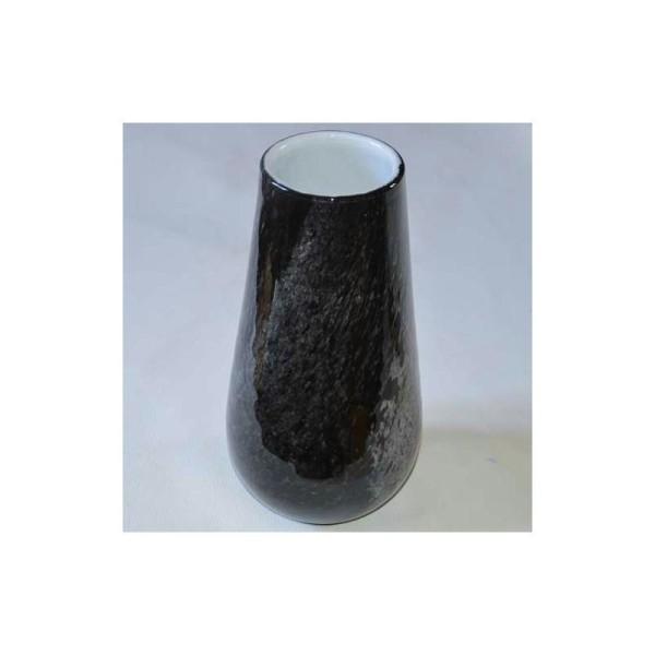 Grand vase noir en verre. Hauteur 30 cm - Photo n°1