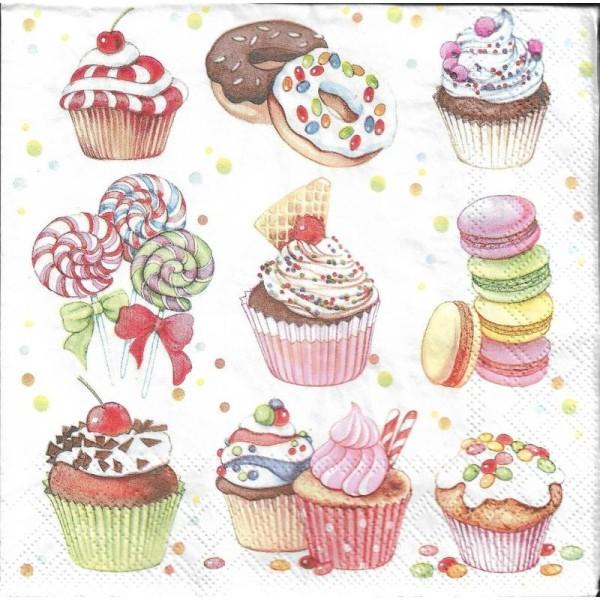 4 Serviettes en papier Cupcakes et Bonbons Format Lunch - Photo n°1