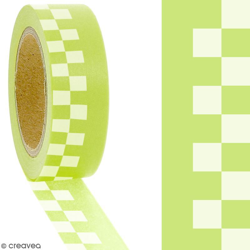 Masking tape Carreaux blancs sur fond vert citron - 1,5 cm x 5 m - Photo n°2