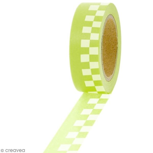 Masking tape Carreaux blancs sur fond vert citron - 1,5 cm x 5 m - Photo n°1