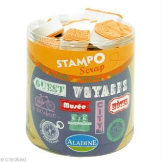 Kit 28 tampons Stampo'scrap Mots du voyage