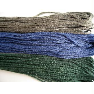 3 Echeveaux fils bracelet brésilien tons gris bleu vert