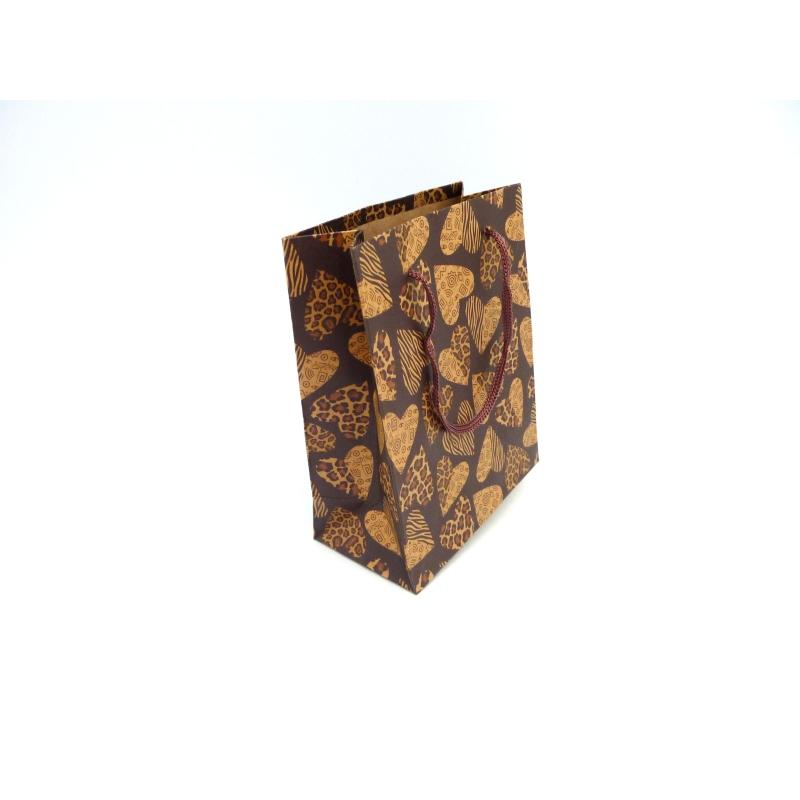 Pochette cadeaux coeur panth re soufflet en papier pais - Pochette en papier ...