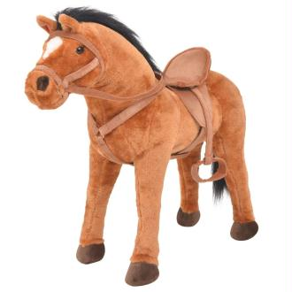 vidaXL Jouet trotteur cheval en peluche marron