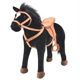 vidaXL Jouet trotteur cheval en peluche noir
