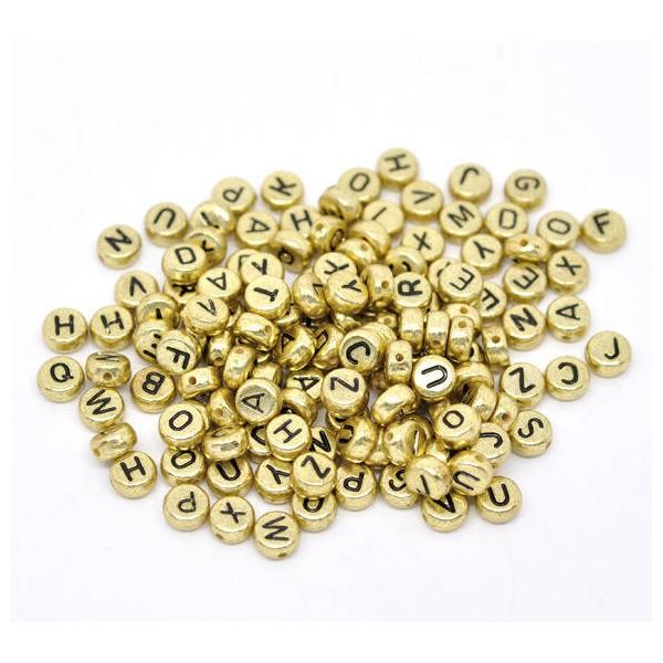 LOT 5 Perles lettres 7 mm ronde plates percées DOREES - OR et noires - Photo n°1