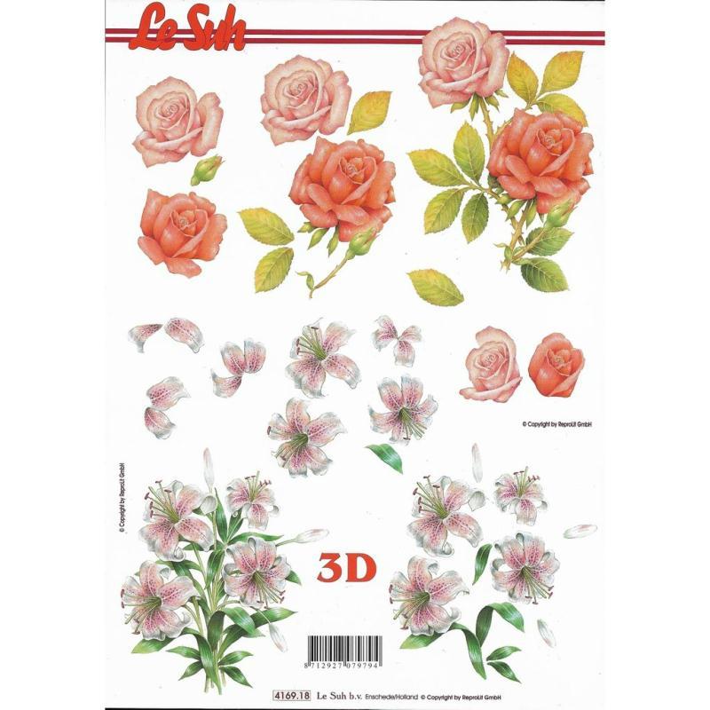 Feuille 3D à découper A4 Fleurs Roses Lys - Photo n°1
