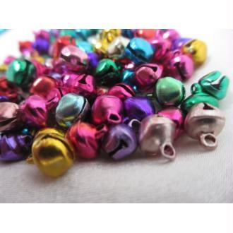 Grelots clochettes,9mm*8mm*7mm,mixe couleurs,50 pièces,aluminium pour décoration,bijoux et  fêtes