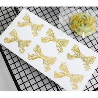 12 Etiquettes noeuds dorés rubans autocollants cadeaux, Noël gold bows stickers labels