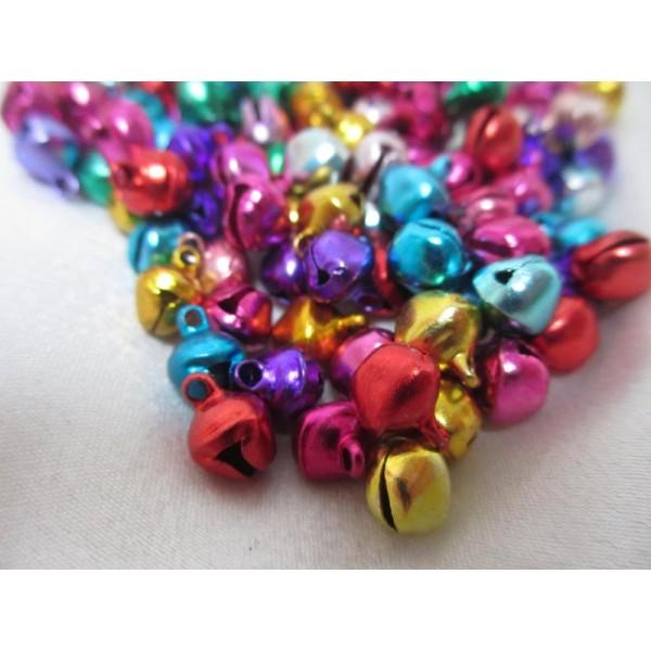 Grelots clochettes 9*8*7mm,mixe couleurs,100 pièces pour décoration - Photo n°2