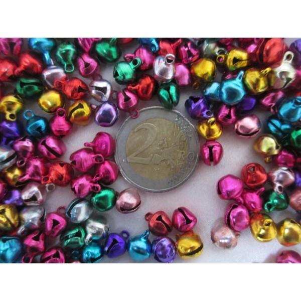 Grelots clochettes 9*8*7mm,mixe couleurs,100 pièces pour décoration - Photo n°3