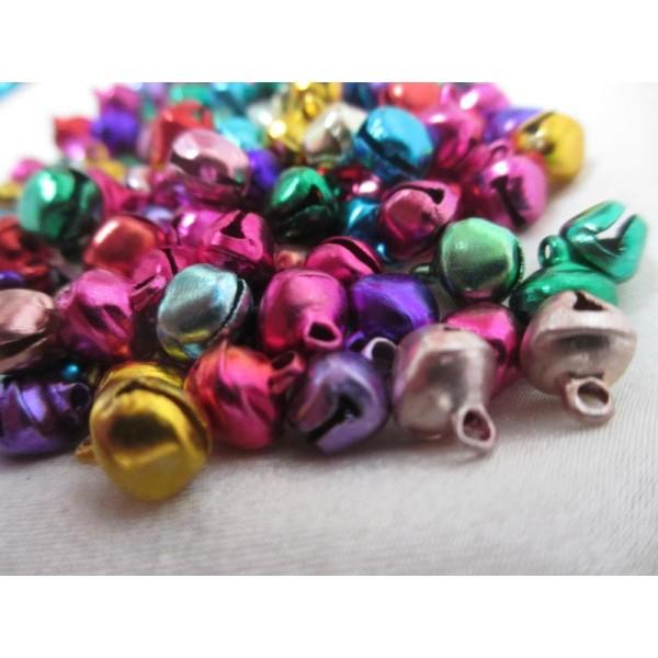 Grelots clochettes 9*8*7mm,mixe couleurs,100 pièces pour décoration - Photo n°1