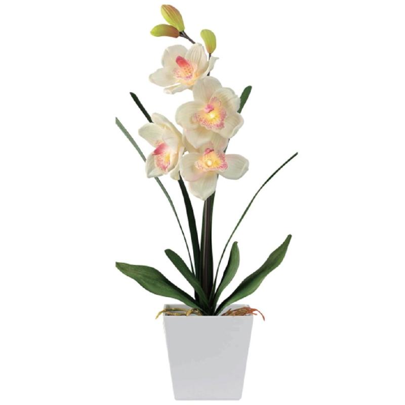 Lampe led orchid e blanche jaune artificielle 59 cm for Plante grimpante artificielle exterieur