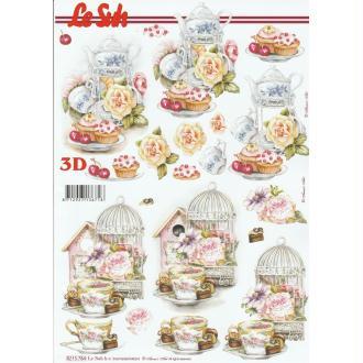 Feuille 3D à découper A4 Thé Cupcakes Shabby