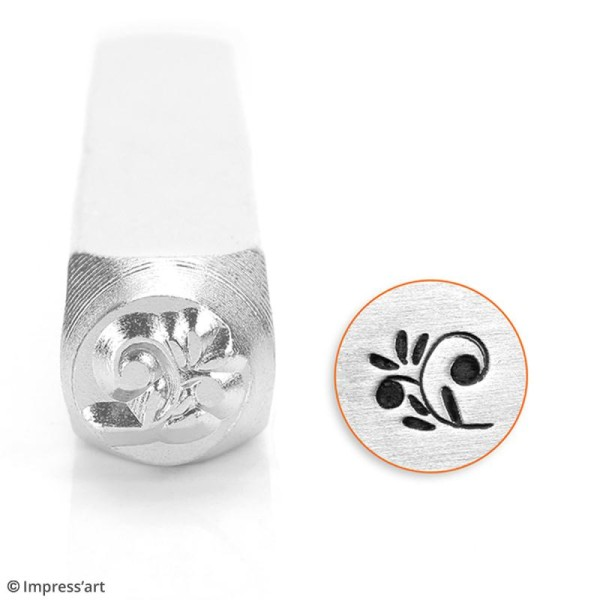 Tampon poinçon pour gravure métal - Arabesque florale - 6 mm - Photo n°2