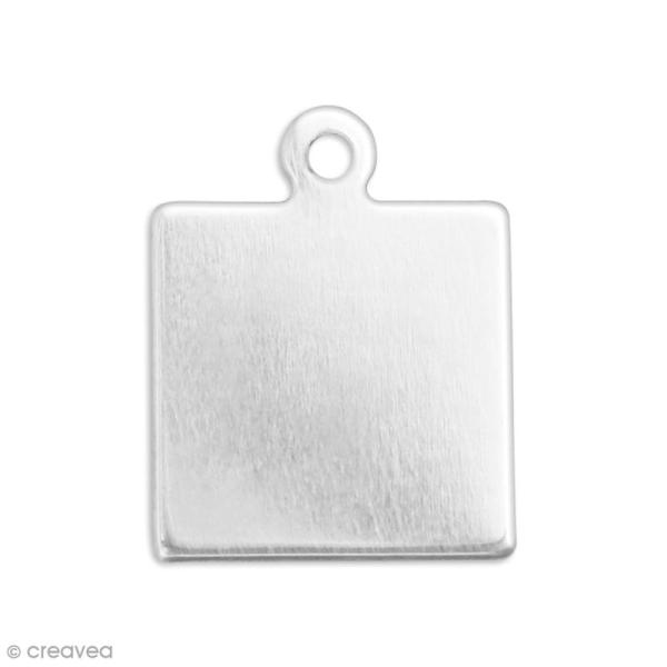 Médaille carrée à graver - Etain - 2,4 x 2,4 cm - 2 pcs - Photo n°1