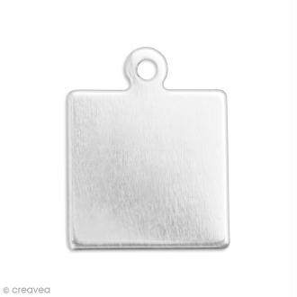Médaille carrée à graver - Etain - 2,4 x 2,4 cm - 2 pcs