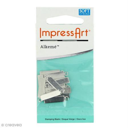 Médaille rectangle à graver - Alkemé (Etain) - 0,5 x 2 cm - 15 pcs - ImpressArt