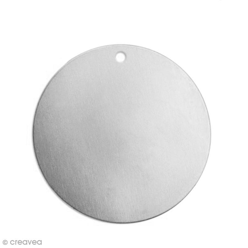 Petite médaille ronde à graver - Alkemé (Etain) - 1,2 cm - 15 pcs - Photo n°1