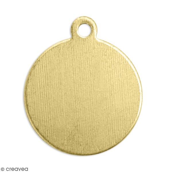 Petite médaille ronde à graver - Laiton - 1,2 cm - 11 pcs - Photo n°1