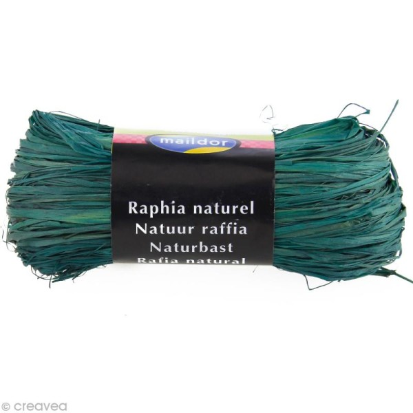 Raphia naturel Bleu turquoise 50 g - Photo n°1